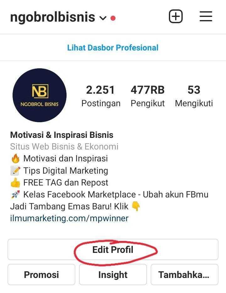 cara mengedit bio instagram beserta contoh bio yang menarik followers
